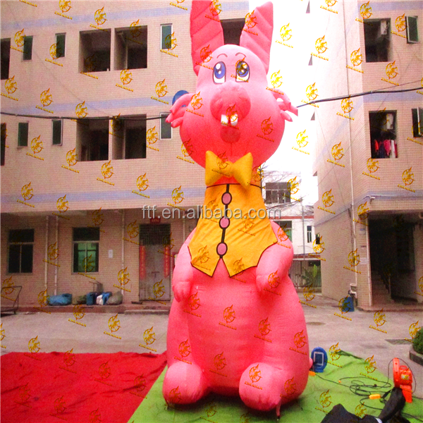 2016 custom lovely giant pink inflatable rabbit model for advertising