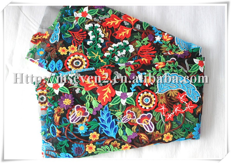 Embroidery colorful 3D Flower Lace Embroidered Fabric For Dress