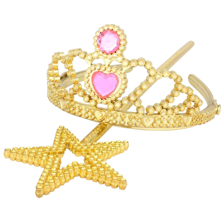 Princess Tiara and Star Wand Gold set