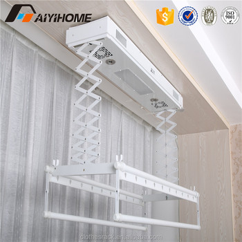 ceiling mounted automatic clothes drying rack electric. Black Bedroom Furniture Sets. Home Design Ideas
