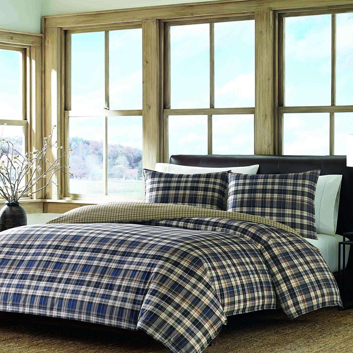 DP 3pc Grey Blue Grey Plaid Tartan Comforter King Set, Brown Tan Cabin Themed Bedding Squares Red Green Checked Pattern Lodge Outdoors Country, Percale Cotton,