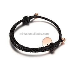 Stainless Steel Genuine Leather Bracelet For Men And Women With Rose Gold Charm