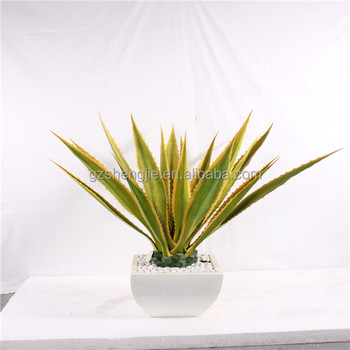 Sj prezzo all'ingrosso giallo pianta di agave artificiale verde decorazione guangzhou falso bonsai agave