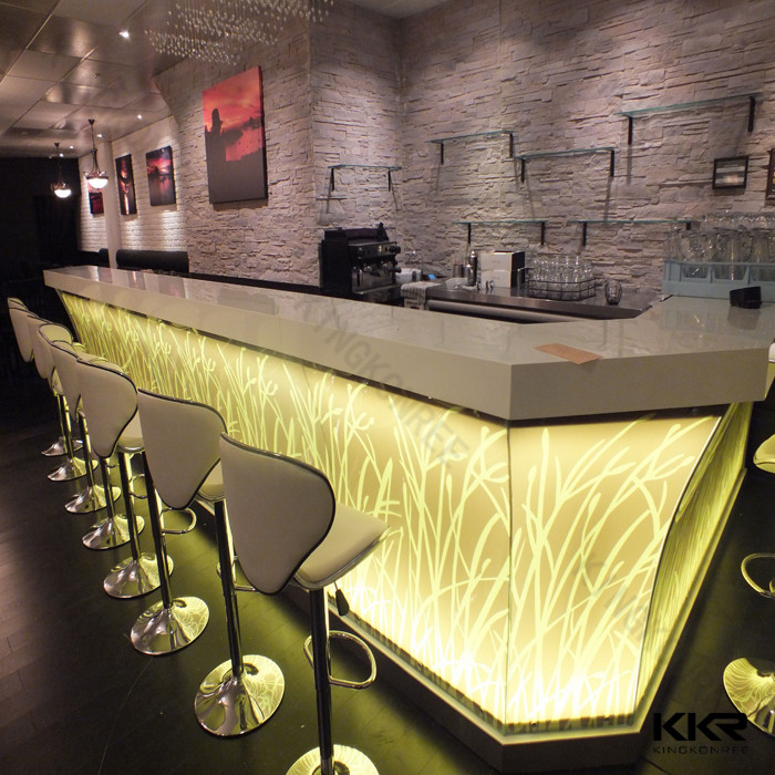 modern acrylic lighted bar counter top