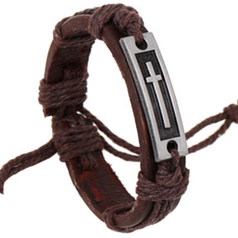 SH-S50064-3 Leather Bracelets New Hot 2015 Trendy Cross Bracelets Elegant Leather Bracelets Brown Charm Bracelets