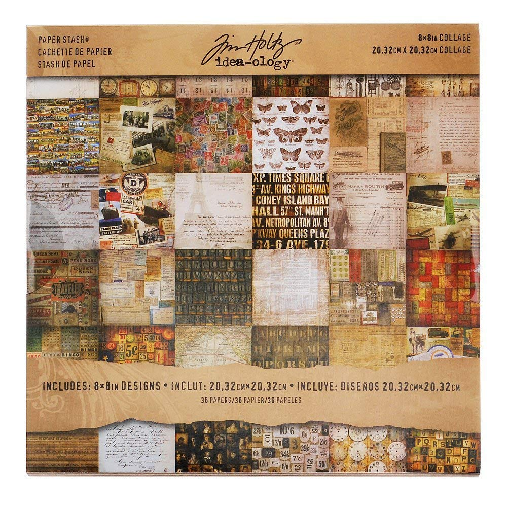 Etcetera Paper Stash by Tim Holtz Idea-ology Assorted Colors TIMTH.93551 8 x 8 Inch Sheets 36 Sheets