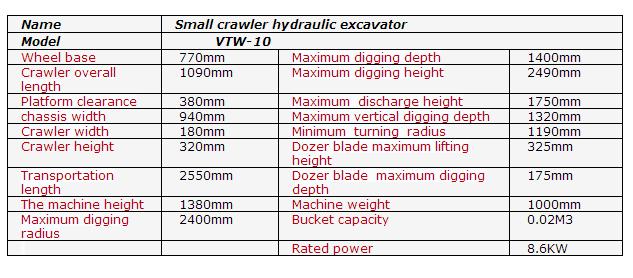 1 ton China small hydraulic crawler excavator mini excavator