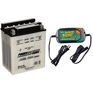 Power-Sonic CB14L-A2 Conventional Powersport Battery and Battery Tender 022-0185G-dl-wh Black 12 Volt 1.25 Amp Plus Battery Charger/Maintainer Bundle