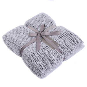 2019 best selling products warp knitted plain 100% acrylic knit throw blanket