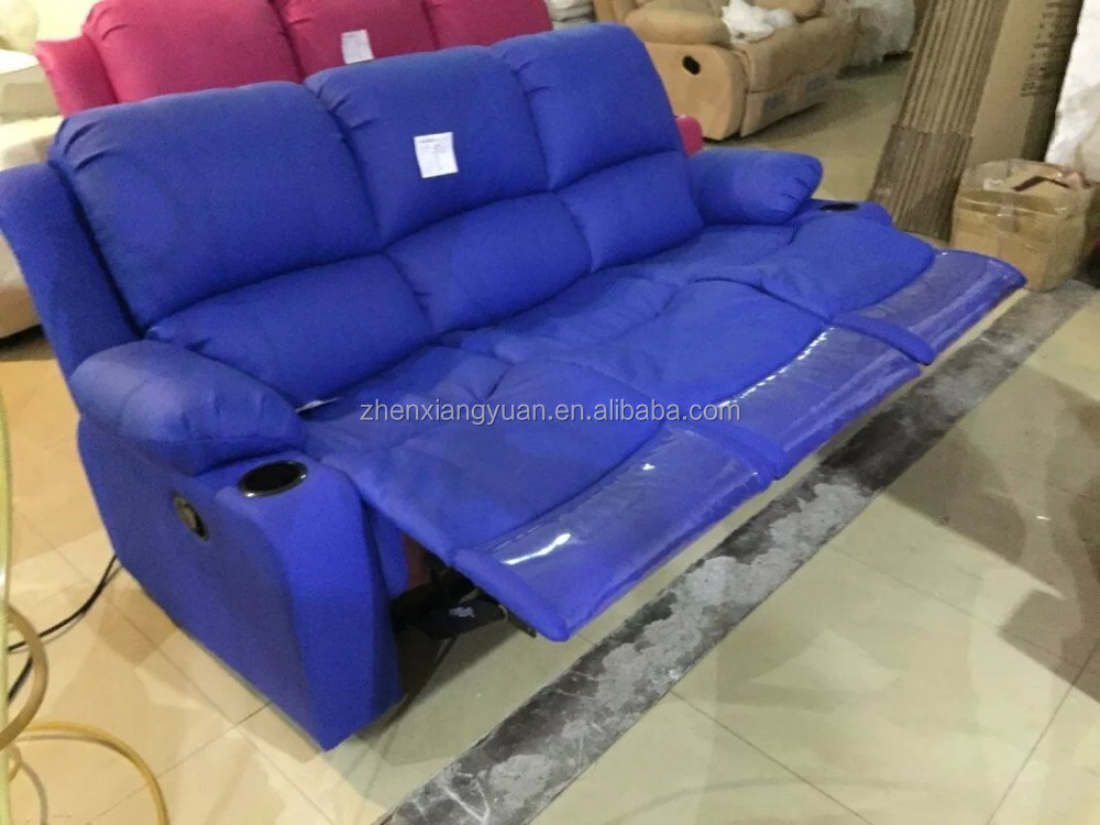 blue color microfiber leather recliner sofa  lazy boy leather look microfiber sofa microfiber leather sofa price
