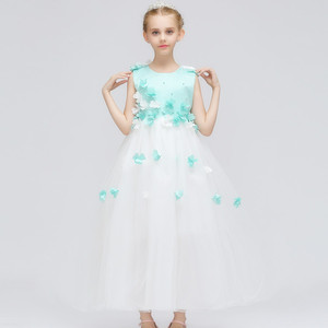 Baby Girl Applique Flower Wedding Dress Children Tulle Long Maxi Prom Party Kids Gowns