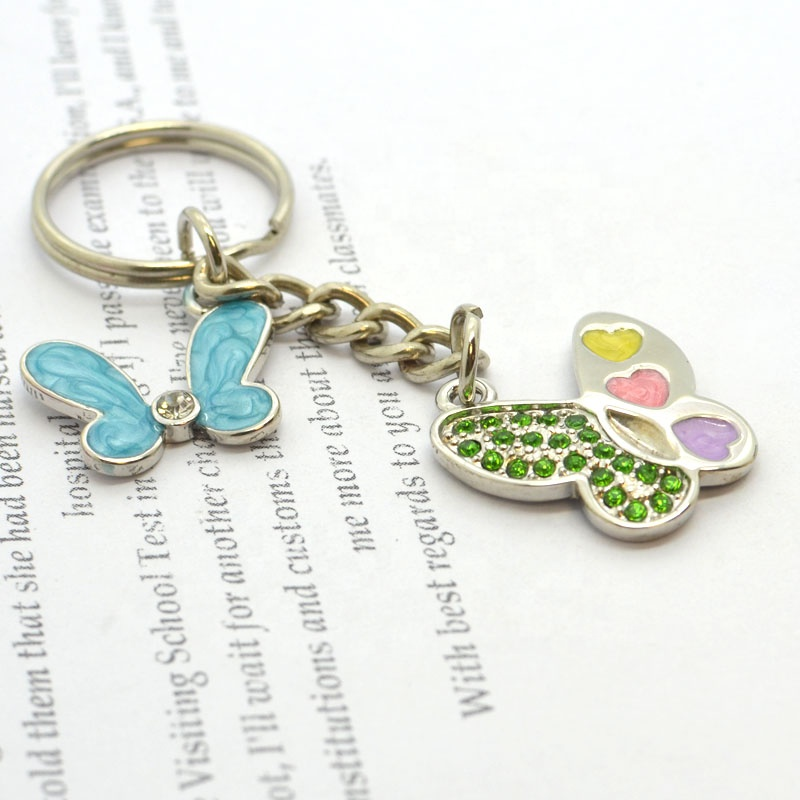 Customized design girl metal alloy key rings chain buckles with charm