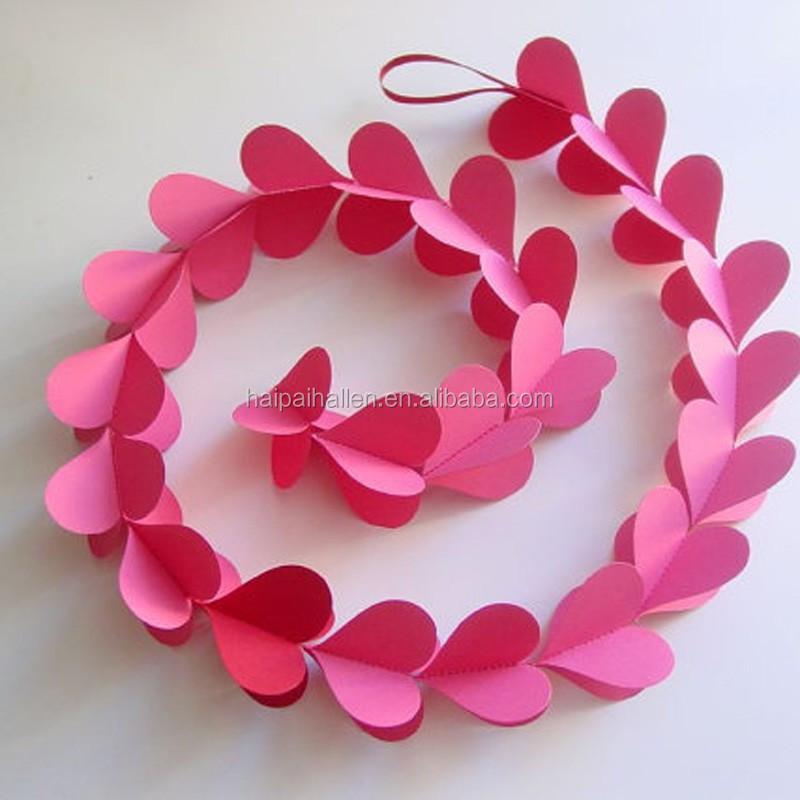 B b 3d rose coeur de papier fait main coeurs guirlande guirlande en papier p - Guirlande papier mariage ...