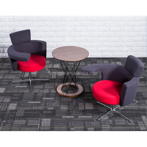Modern design fabric leisure chair with aluminum revolving base