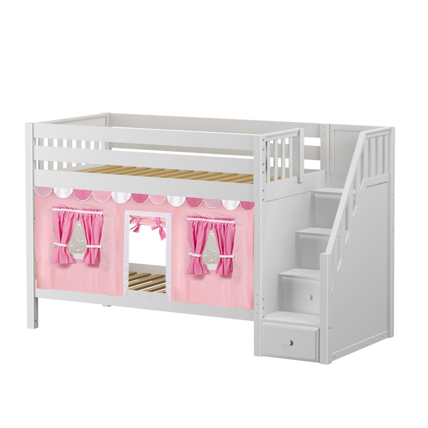 Maxtrix Solid Hardwood Twin/Twin Low Bunk Bed with Storage Staircase Entry and Low Bunk Curtains, White Finish, Pink, Soft Pink, and White Fabric