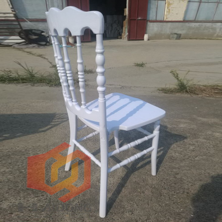 Haidong Made Stackable White Hotel Wooden Napoleon Chair