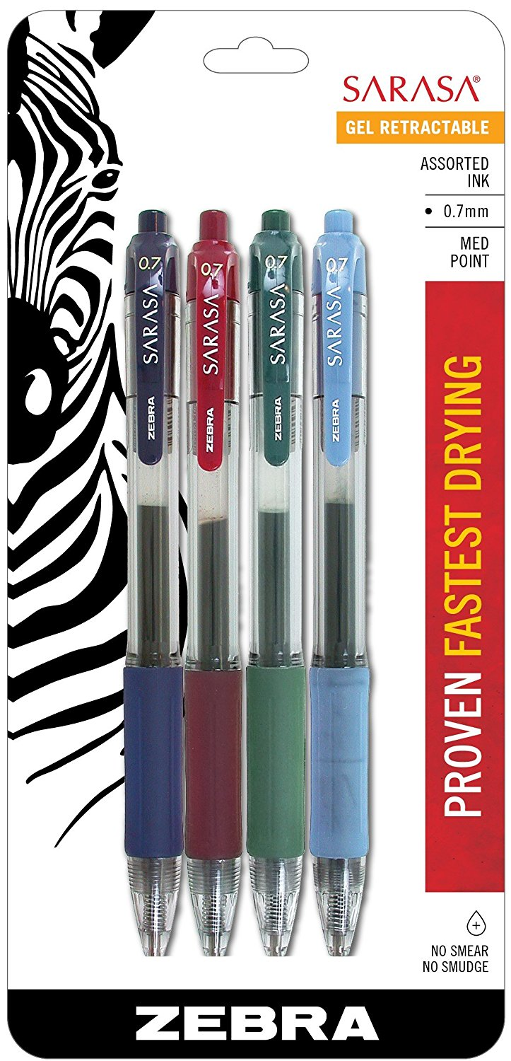 Zebra Sarasa Retractable Gel Ink Pens, Medium Point 0.7mm, Fashion Assorted Color Rapid Dry Ink, 4-Count