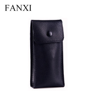 FANXI New Luxury Custom Printed PU Leather Jewelry Storage Bag Bracelet Bangle Package Pouch Gift Bags with Button PU Watch Bag