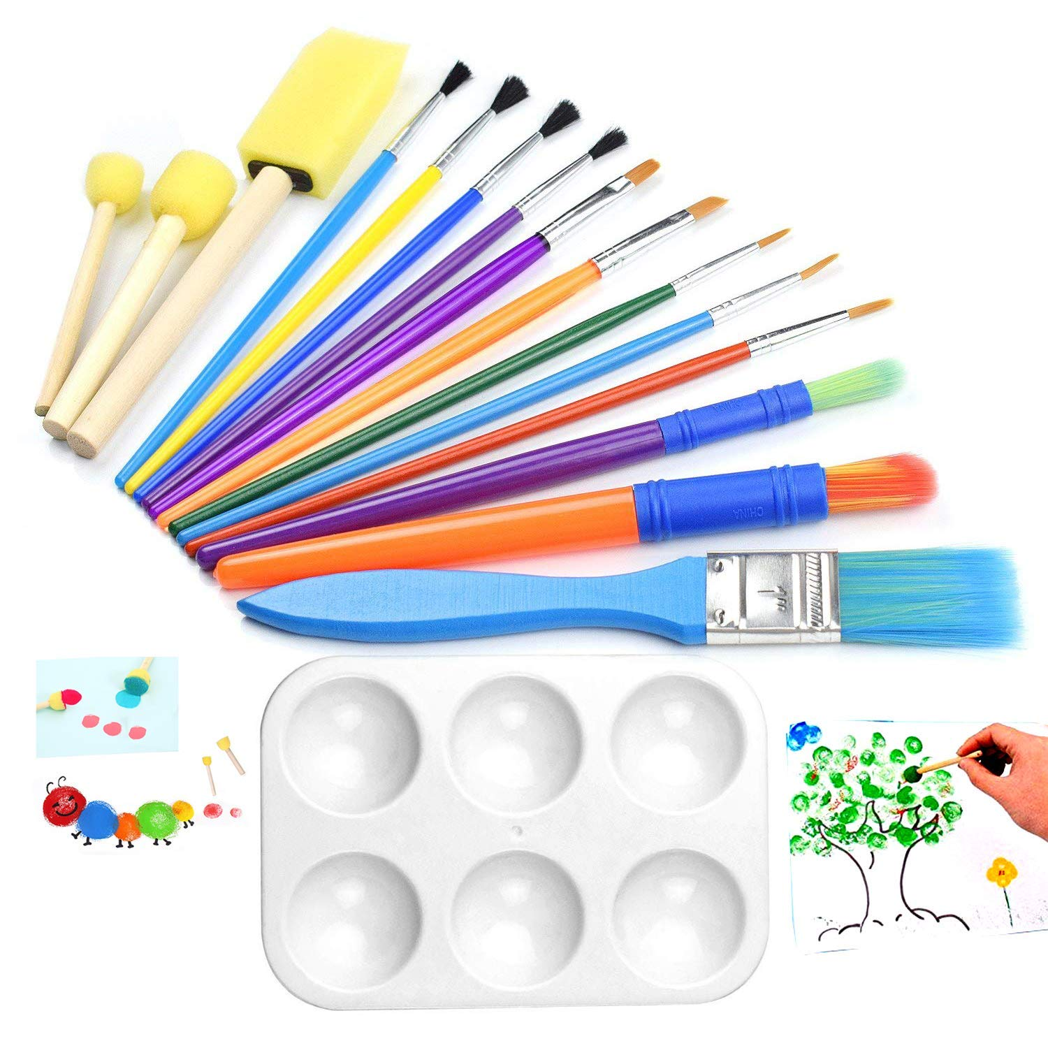 Artistycm 16 Pieces Art Paint Brushes Set Kid Little Artist Beginner with One Mixing Color Tray Palette Acrylic, Oil, Watercolors