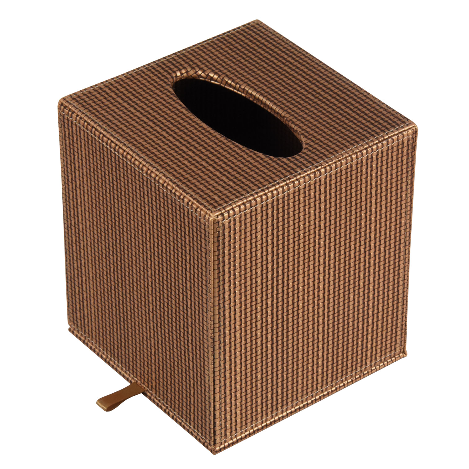 Chinese factory supplier home/hotel/office rectangle shape brown faux leather wooden tissue box