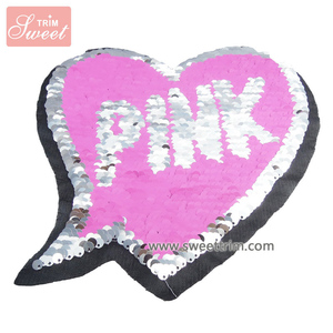 Wholesale pink heart reversible two side iron on sequin embroidery patterns