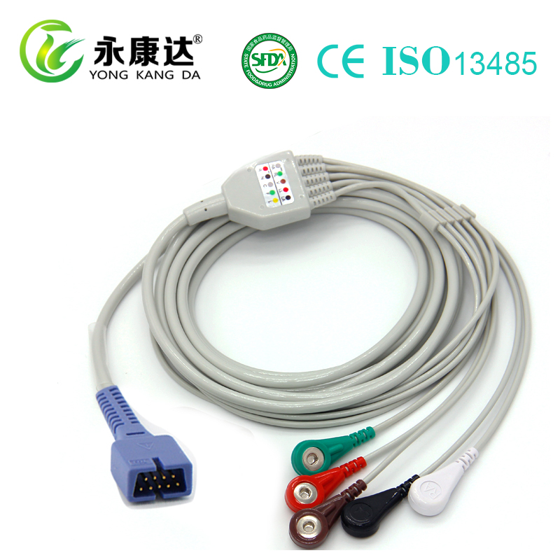 MEK 5 leads one piece series ECG patient cable snap/leadwires/9 pin with TPU cable
