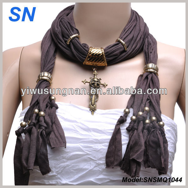 Spring fashion Bronze Skull Cross Necklace Jewelry scarf