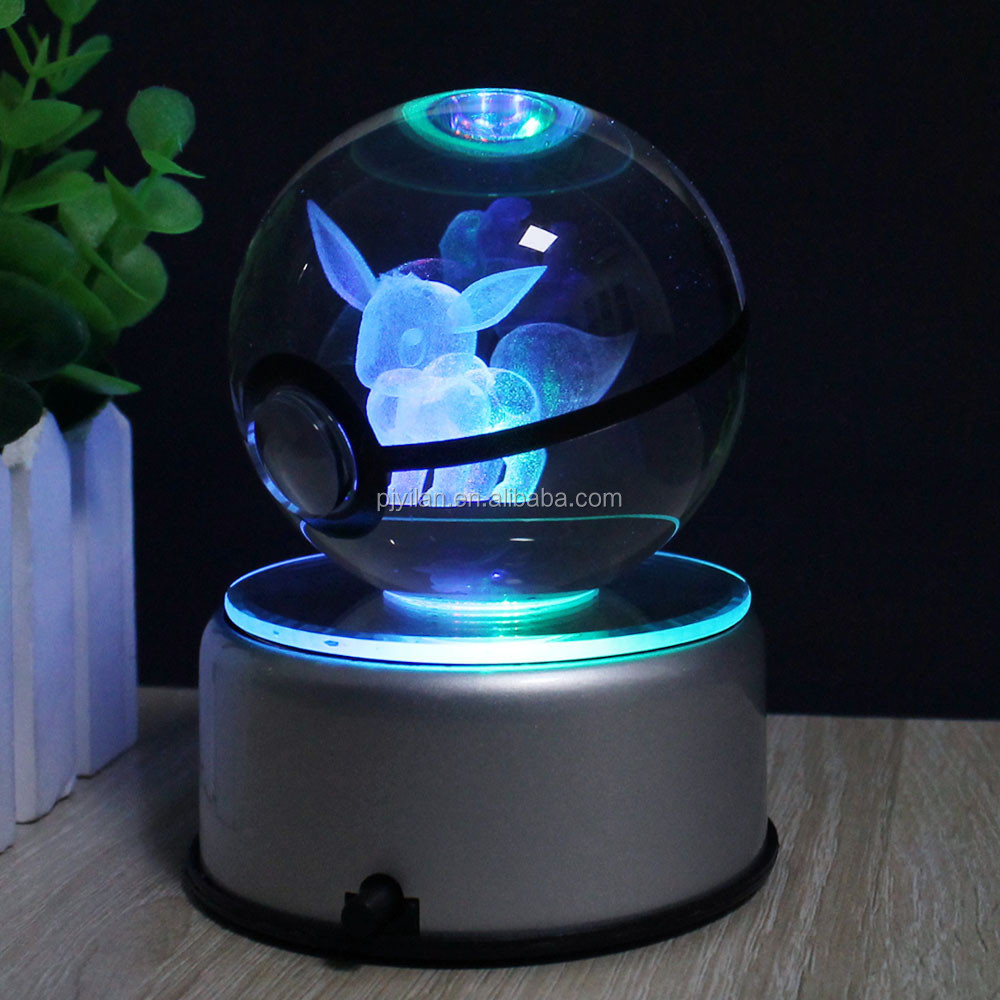Goedkope Mooie Crystal K9 Glas Bal 3D Verlichting Up Crystal Pokemon Poke Ball LED Base