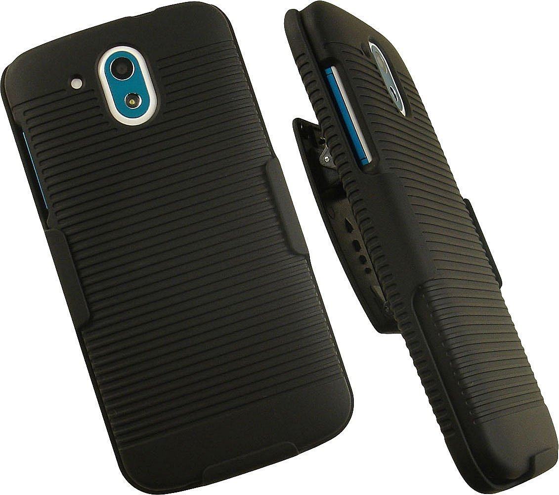 NAKEDCELLPHONE'S BLACK RIBBED RUBBERIZED HARD SHELL CASE COVER + BELT CLIP HOLSTER STAND FOR VERIZON HTC DESIRE 526 526G+