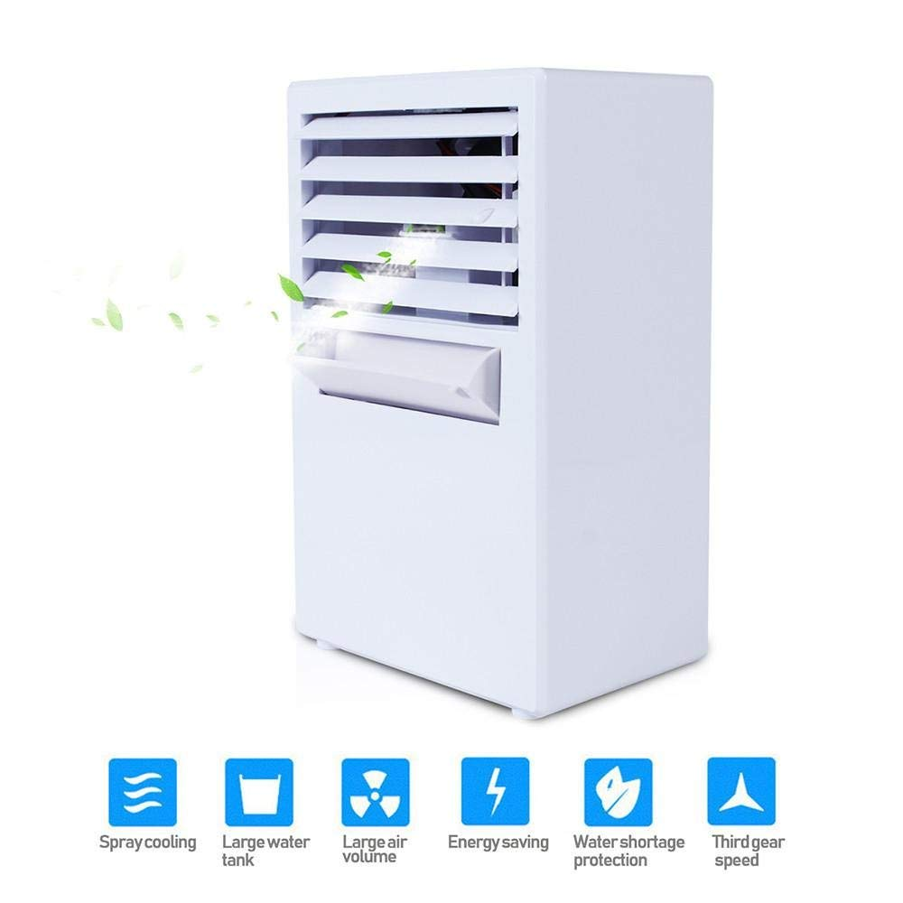 KOBWA Mini Portable Air Conditioner Fan, Personal Misting Desktop Table Desk Cooling Fan Humidifier Evaporative Air Cooler Spay Fan Quiet for Office, Dorm, Nightstand