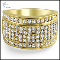 14K Gold Wedding Engagement Band Micropave CZ Iced Out Mens Ring