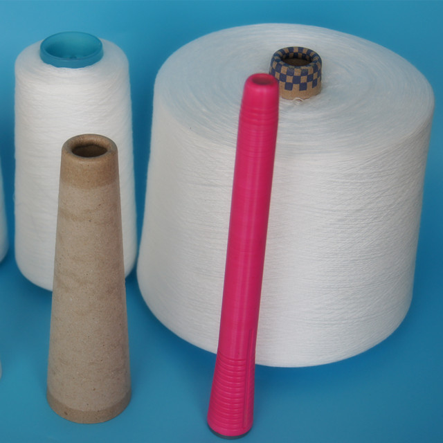 20/2 100% Optical white spun polyester yarn in plastic cone