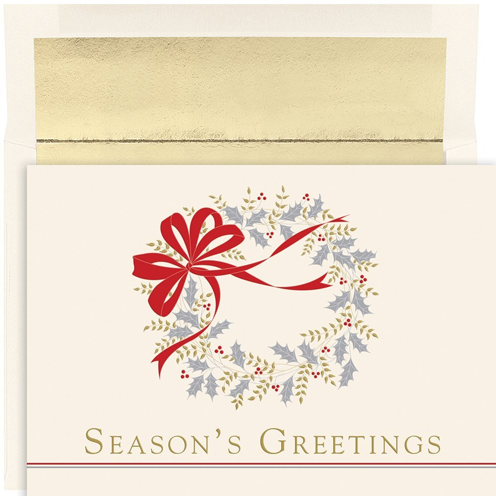 """Great Papers! Holiday Greeting Card, Classic Wreath, 16 Cards/Foil-Lined Envelopes, 7.875"""" x 5.625"""" (882200)"""