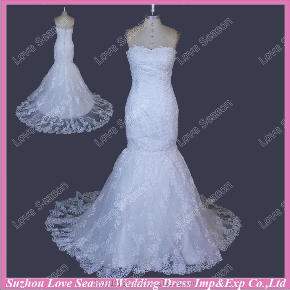 RP0022 blanco real Photo vestido sin tirantes cuentas de encaje sin ...