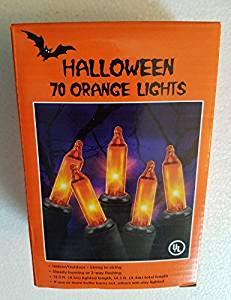 1 Box 70 Orange Mini Lights - Halloween Black Wire - Indoor/Outdoor Steady Burning or Flashing (13.5 Feet Lighted Strand Length)