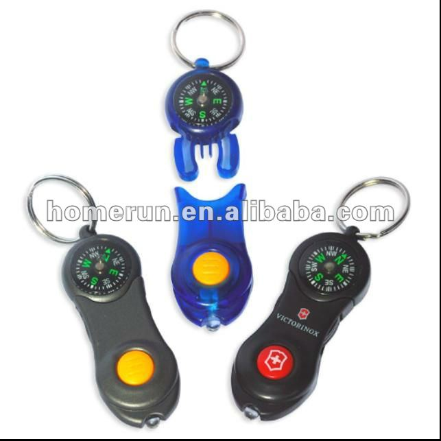 LED light key chain with compass /multi-use key ring