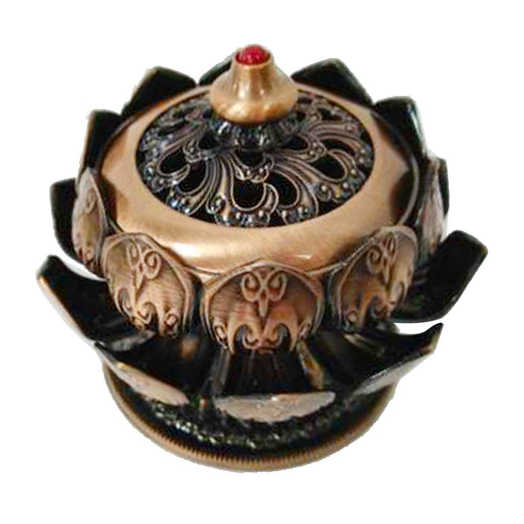 Fenteer Antique Chinese Style Copper Alloy Incense Burner Holder Stick Coils Cone Tower Incense Censer Holder Ash Catcher Plate Bowl - Lotus Copper