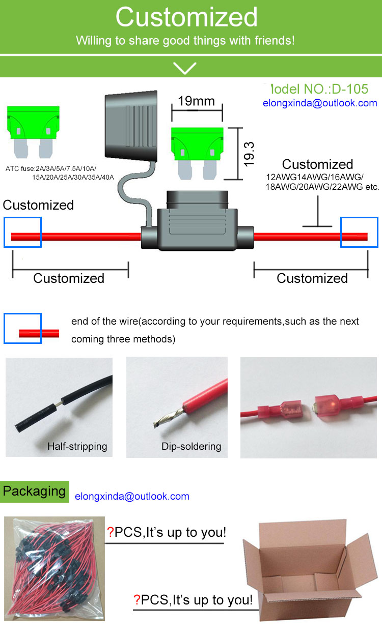 10A Water Resistant In Line ATO or ATC Fuse Holder with 16 AWG Wire for Boats