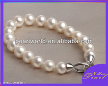 8-9mm round AA 7.5 inch artificial pearl bracelet