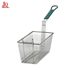 Commercial Restaurant Rectangle Wire Fry Basket Deep Fryer Basket With Plastic Handle