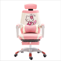 Pink adorable hello kitty pattern reclining gaming computer chair for girl