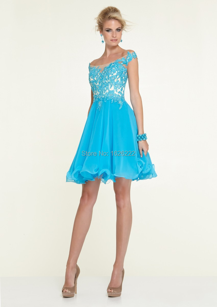 bafd7404f065 Get Quotations · Latest lace short cocktail dress cocktail party dress  light blue   red cocktail dress under