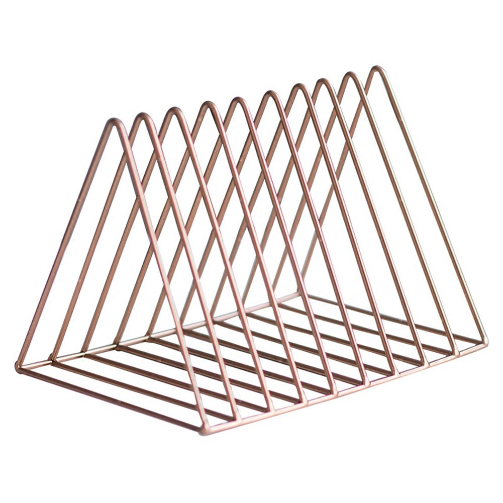 Wideny Office 9 Slots Wire Metal Triangle Desk Storage Rose gold Magazine Holder desktop letter Sorter