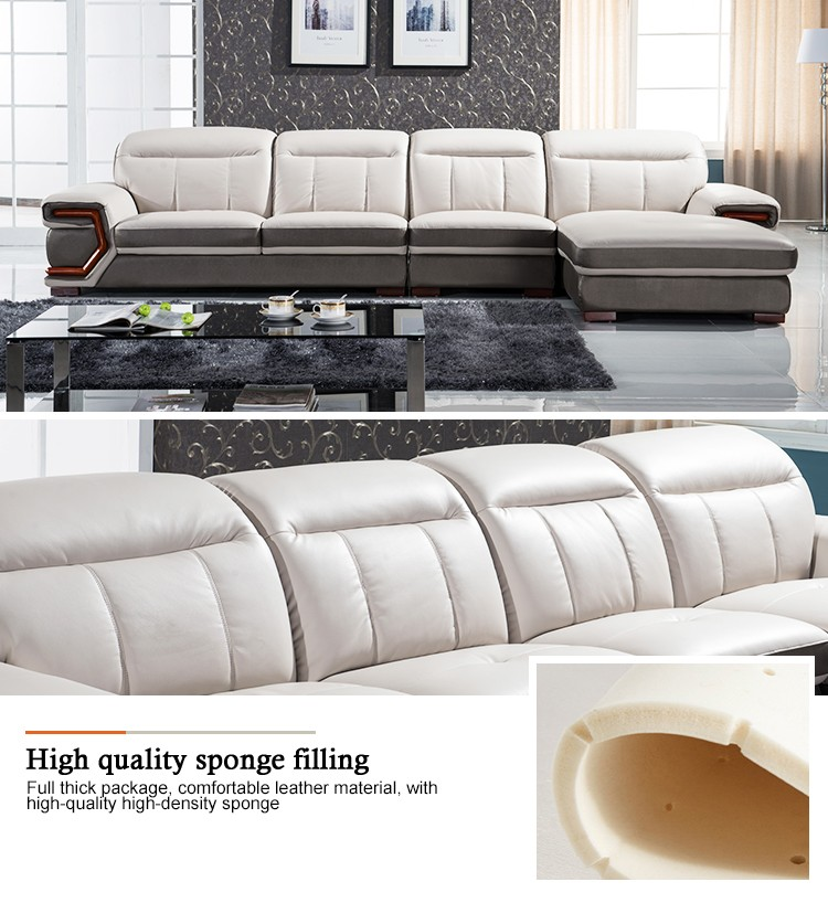 Drawing Room Leather Couch Contemporary Grey Corner Sofa Set