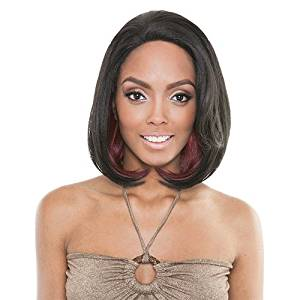 ISIS Human Hair Blend Lace Front Wig Brown Sugar French Stretch Lace BS701 Eclipse (TEALBLACK)