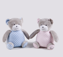 cute plush stuffed pink and blue twins bear with pot belly