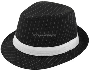 New white black ladies trilby gangsters hat with pin stripe fancy dress  accessory HT8771 7453c431735b