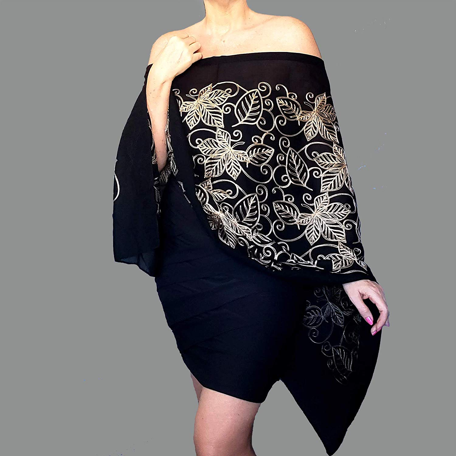 5372477874c Get Quotations · Metallic Gold Evening Wrap Semi Sheer Black Shawl  Embroidered Scarf By ZiiCi