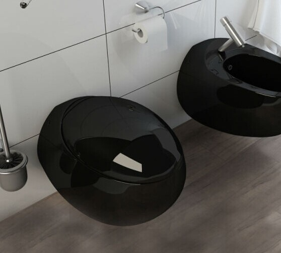 Kb 138 Black Colored Toilet Wall Mounted Toilet Bowl For