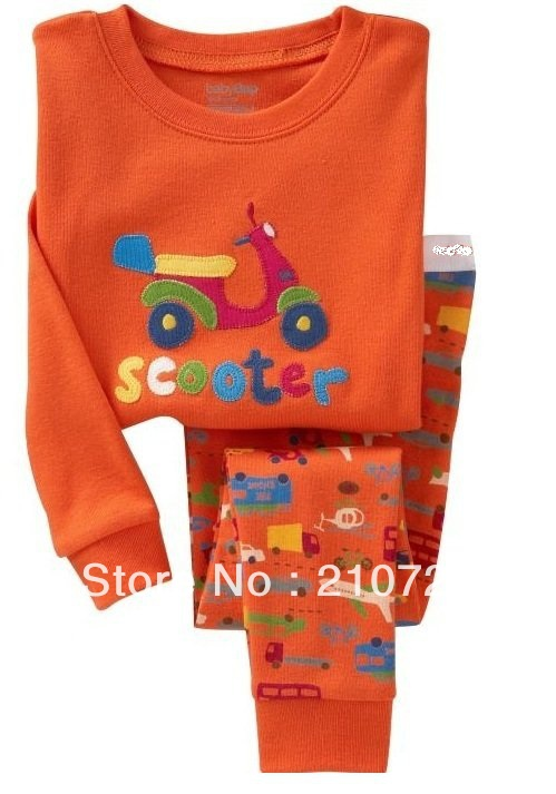 6Sets/Lot 18M to 6Years child Orange Scooter pajamas suits boys/girls Motorcycle pajama set leisure style sleep wear Robe zs13